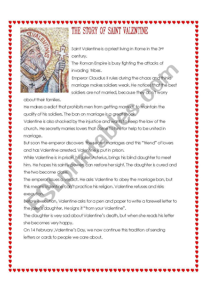 The Story of Saint Valentine lesson and videos for kids