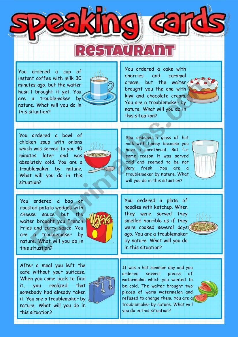 Restaurant - speaking cards worksheet