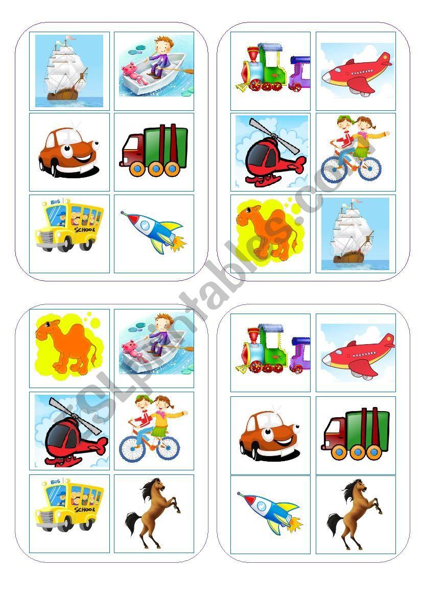 Bingo Game Transport worksheet