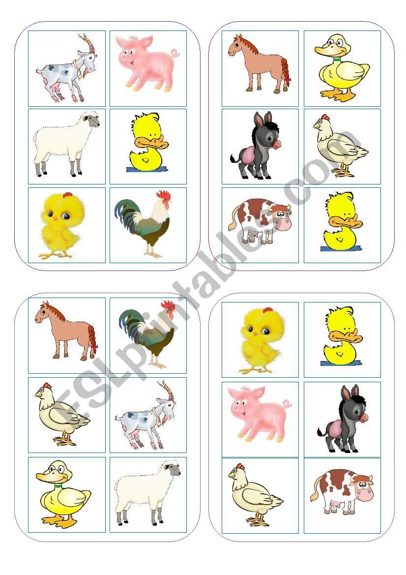 Bingo Game Farm animals worksheet