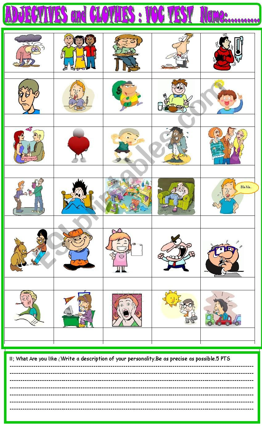 Personality adjectives/ clothes basic vocabulary test