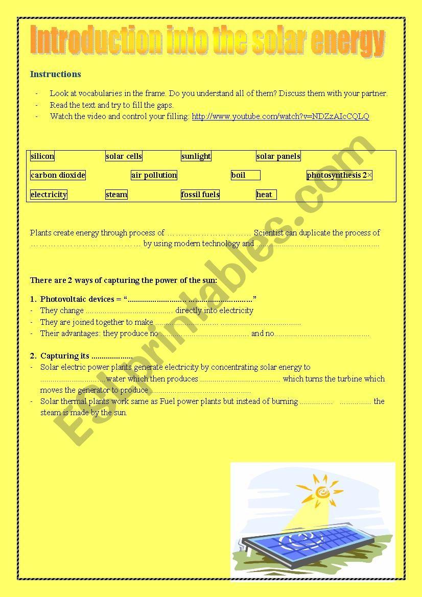 Solar Energy Esl Worksheet By Sojkaca