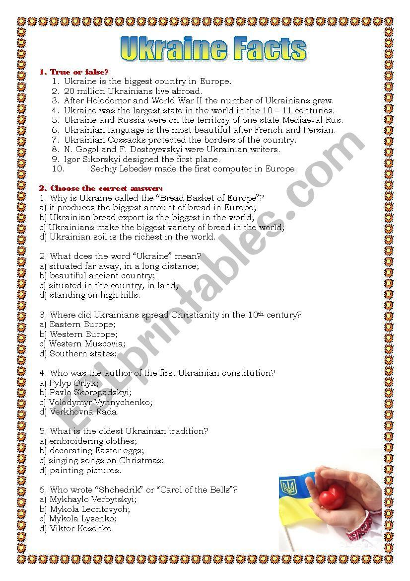 Ukraine facts worksheet