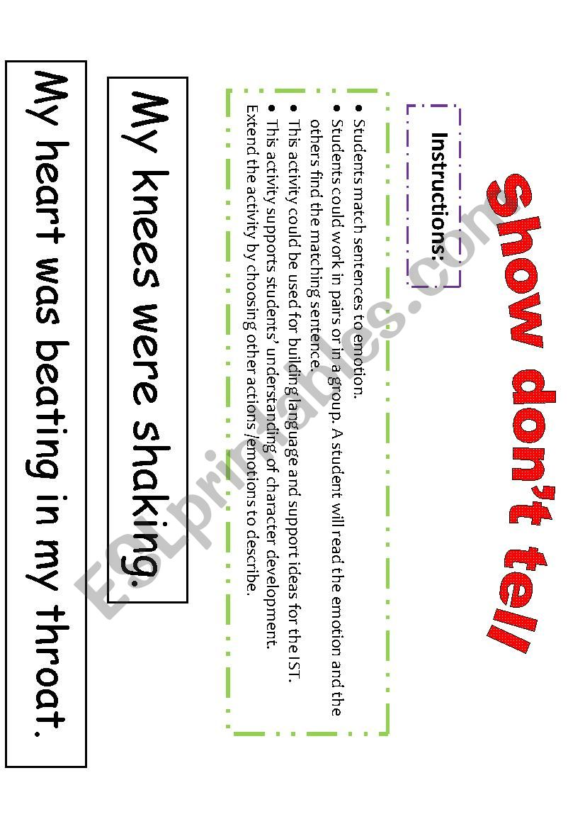 Show Don T Tell Esl Worksheet By Kim82