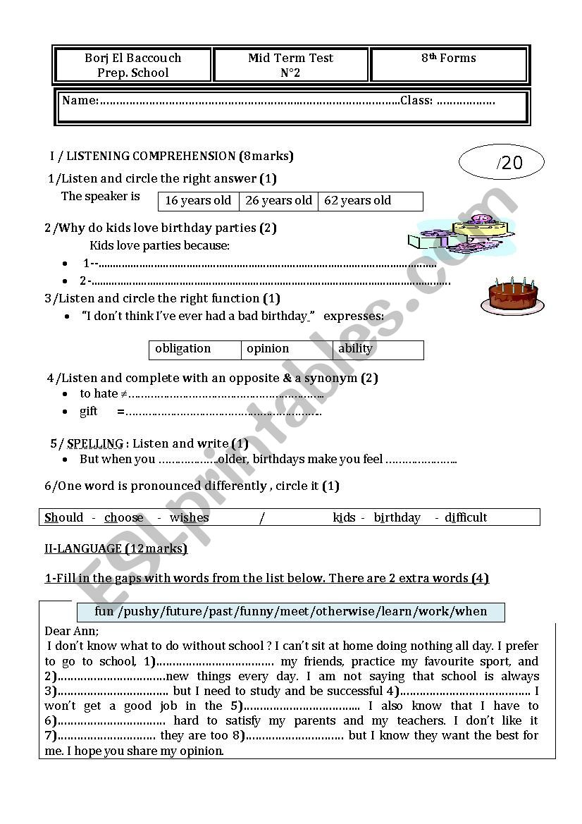 8th forms Mid Term Test 2 worksheet