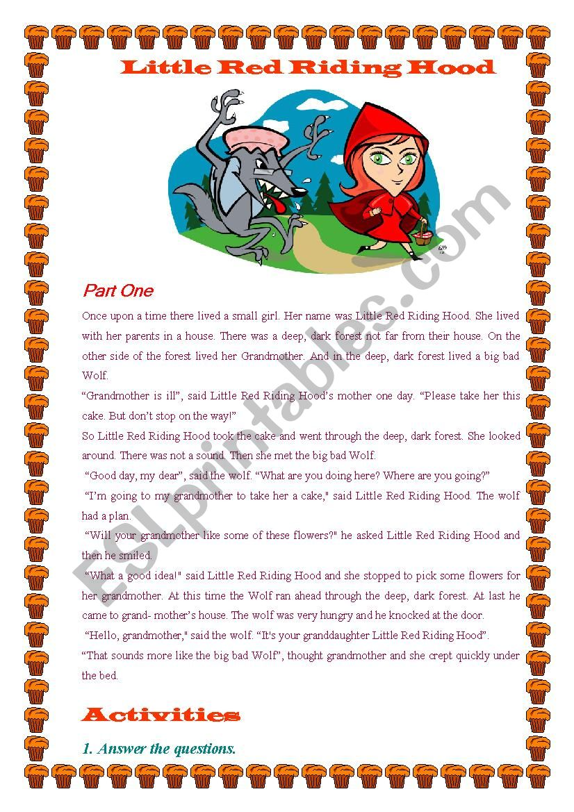 Little Red Riding Hood worksheet