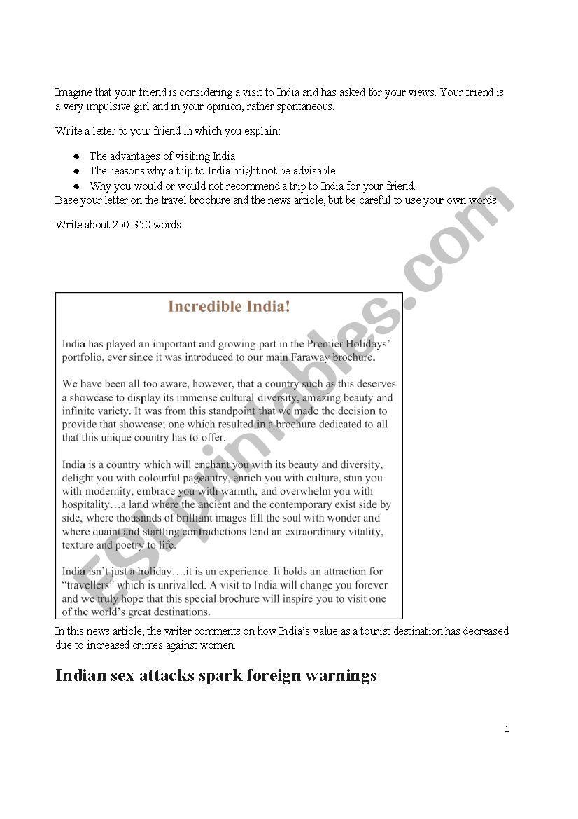 Argumentative Writing worksheet
