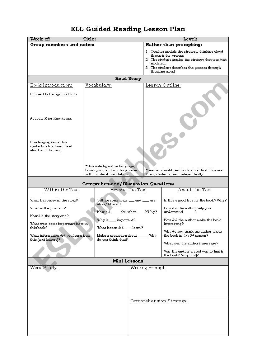 English worksheets: ELL Guided Reading Lesson Plan Template