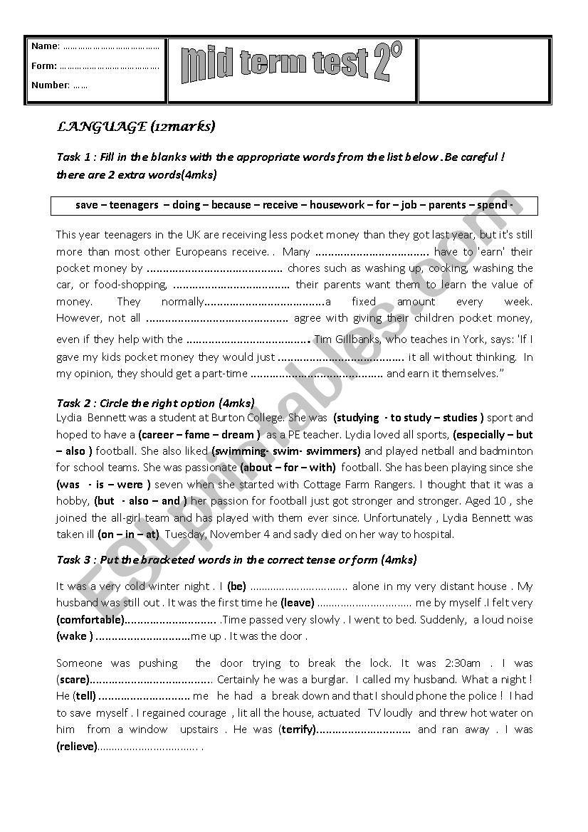 mid term test 2 sport worksheet