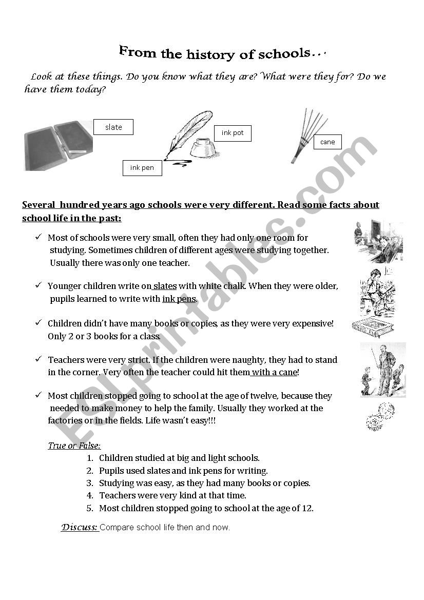 schools from the past - ESL worksheet by bola333