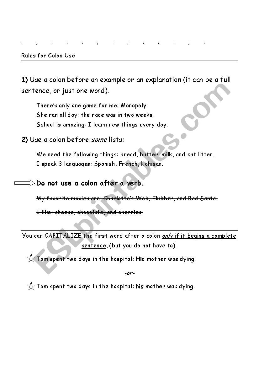 Colon And Semicolon Rules Esl Worksheet By Cchaif