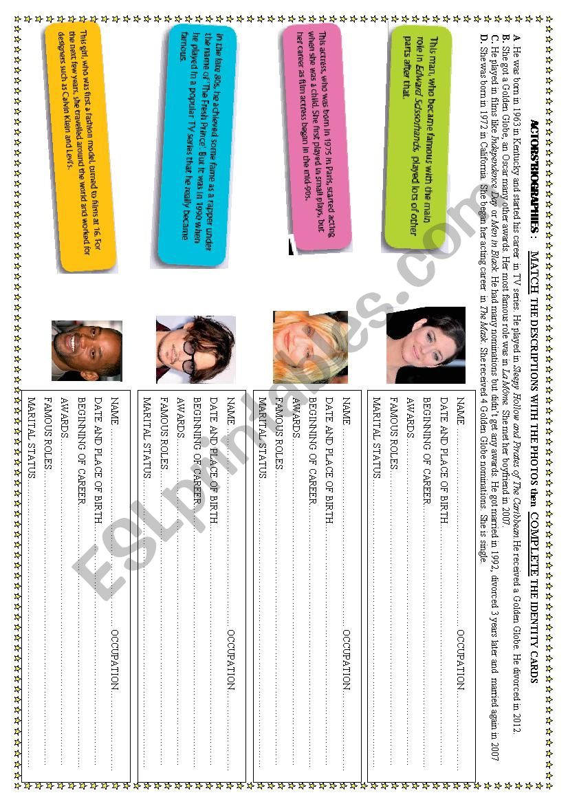 Actors´ Biographies worksheet