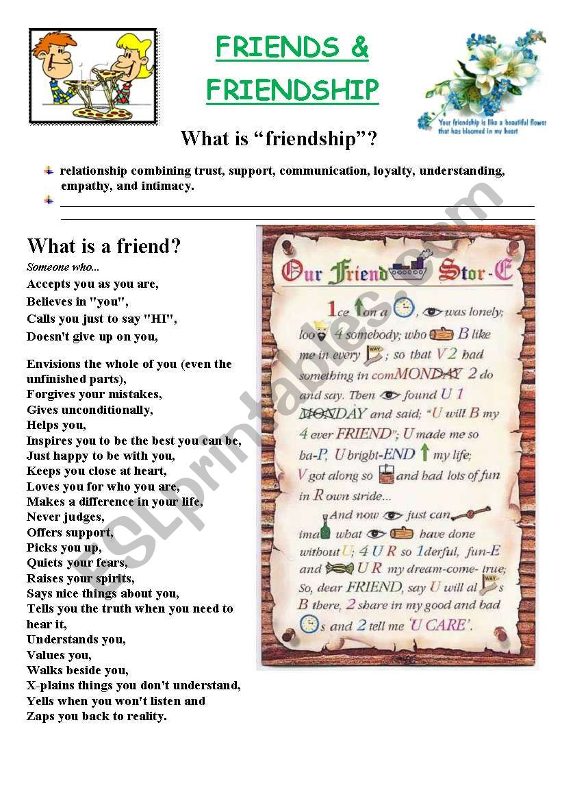 Friends and Friendship  worksheet