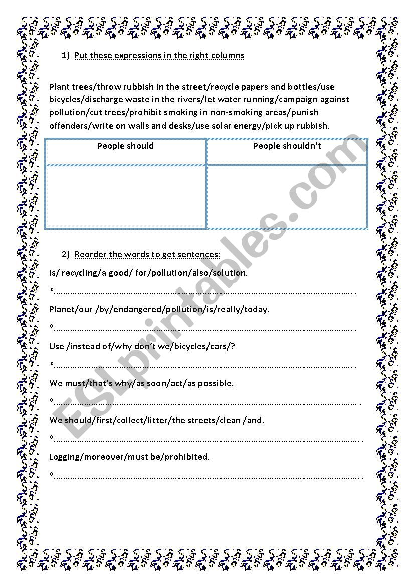how to save our globe worksheet