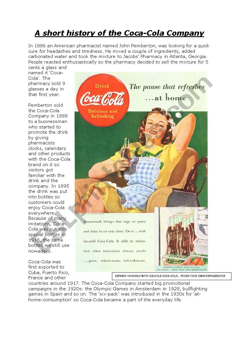 Coca-Cola History - Reading comprehension + grammar test