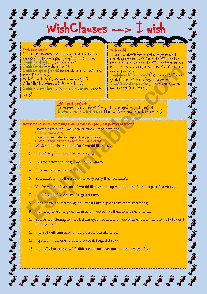 Wish Clauses worksheet