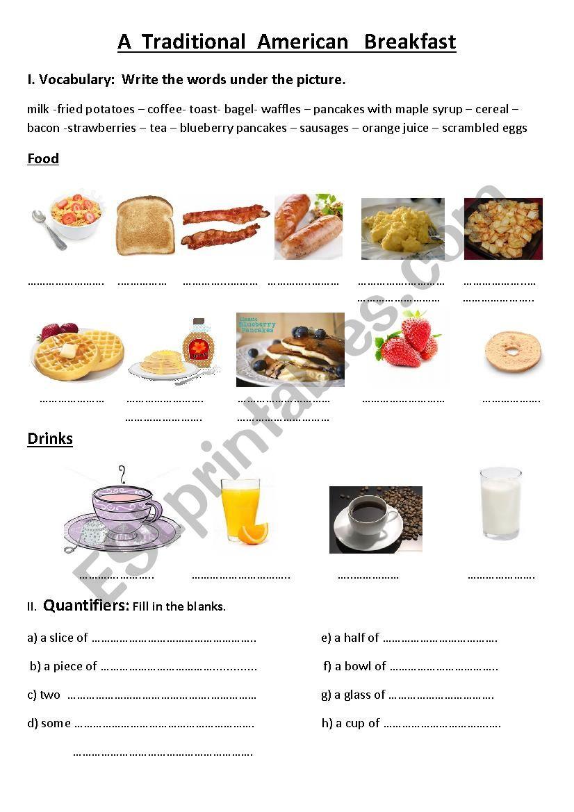 American Breakfast vocabulary worksheet