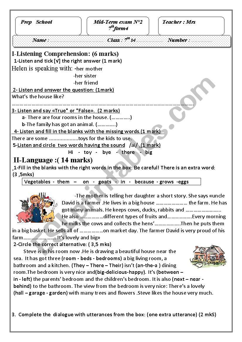 mid -term test n°2 7th form worksheet