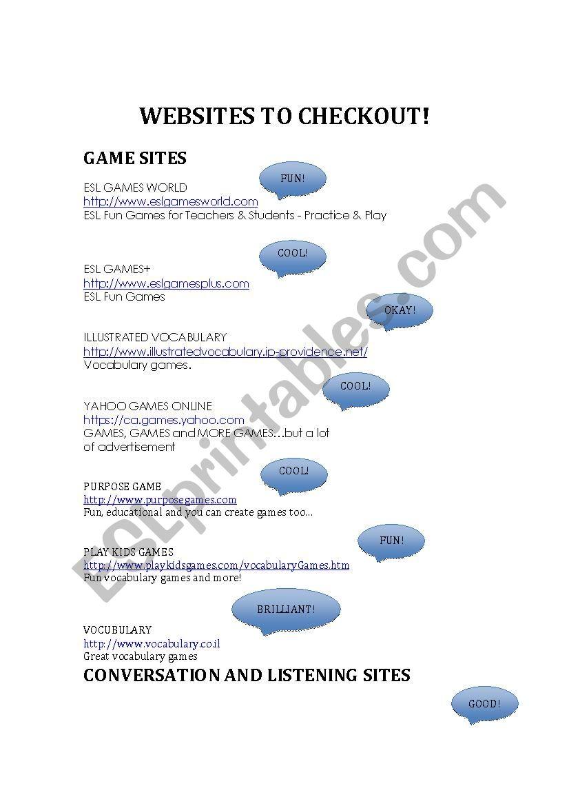 Cool English Websites - ESL worksheet by julie27