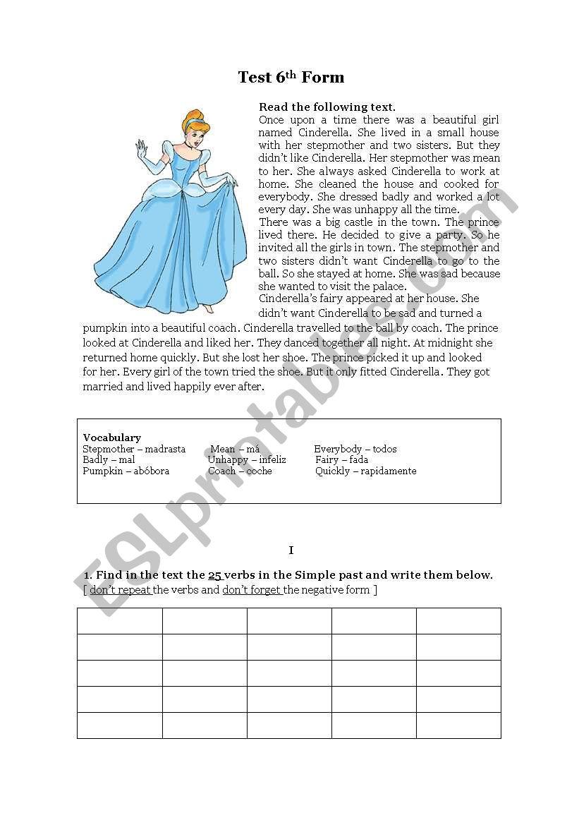 Test  6th form worksheet