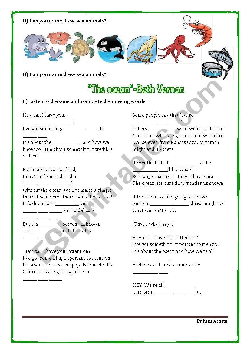 ocean song part 2 worksheet