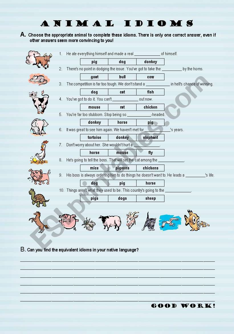 Animal Idioms - worksheet - ESL worksheet by pmca