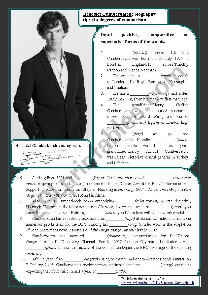 Benedict Cumberbatch and degrees of comparison