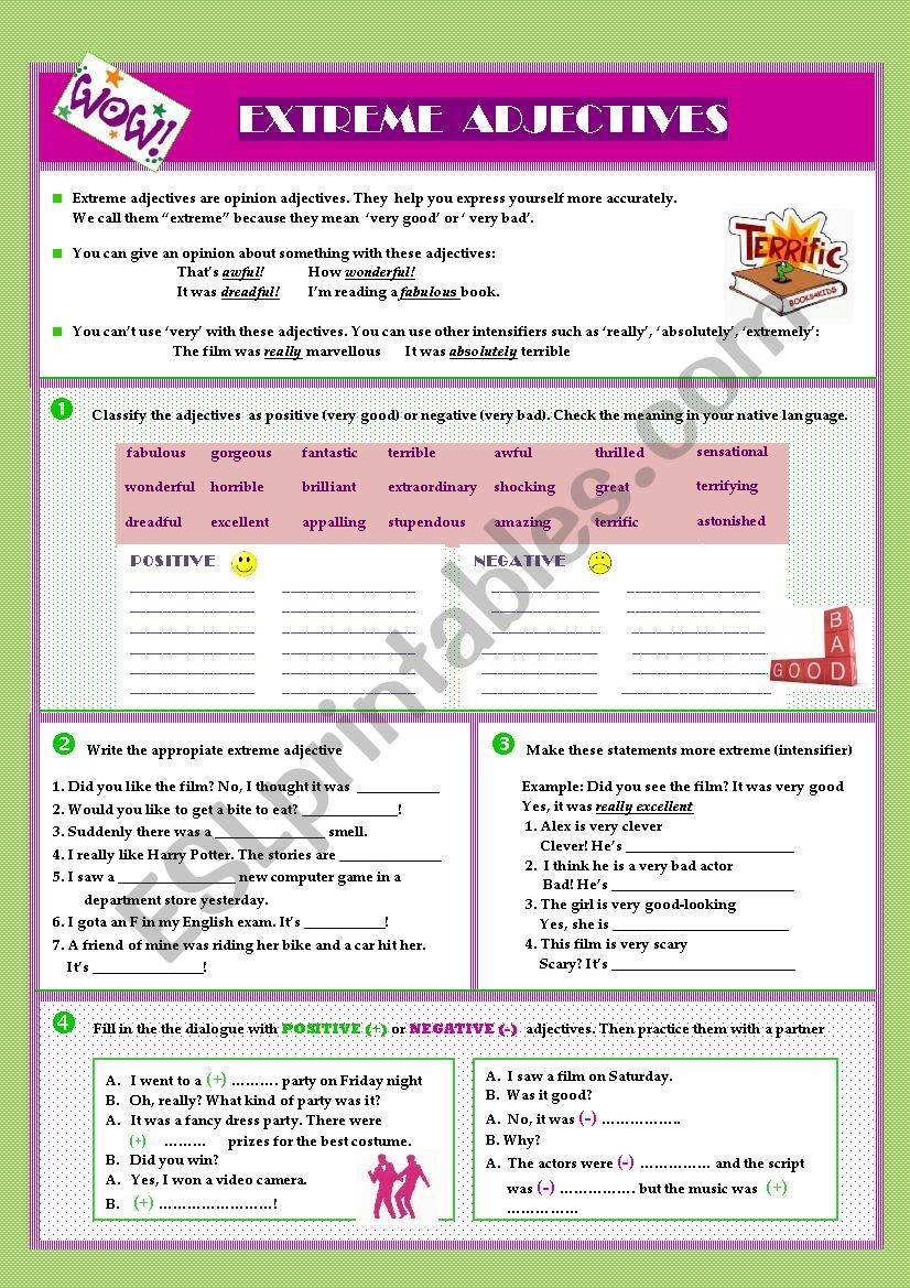 Extreme Adjectives Esl Worksheet By Olgavillanua