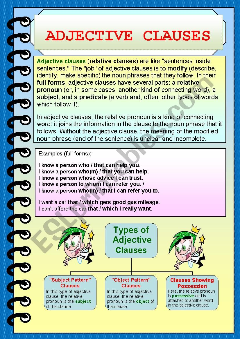 Adjective Clause worksheet
