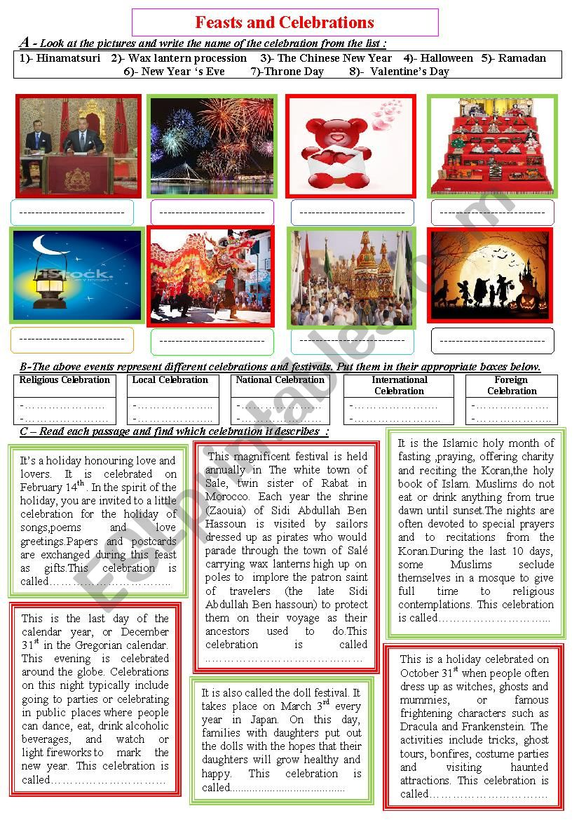 Celebrations and feasts worksheet