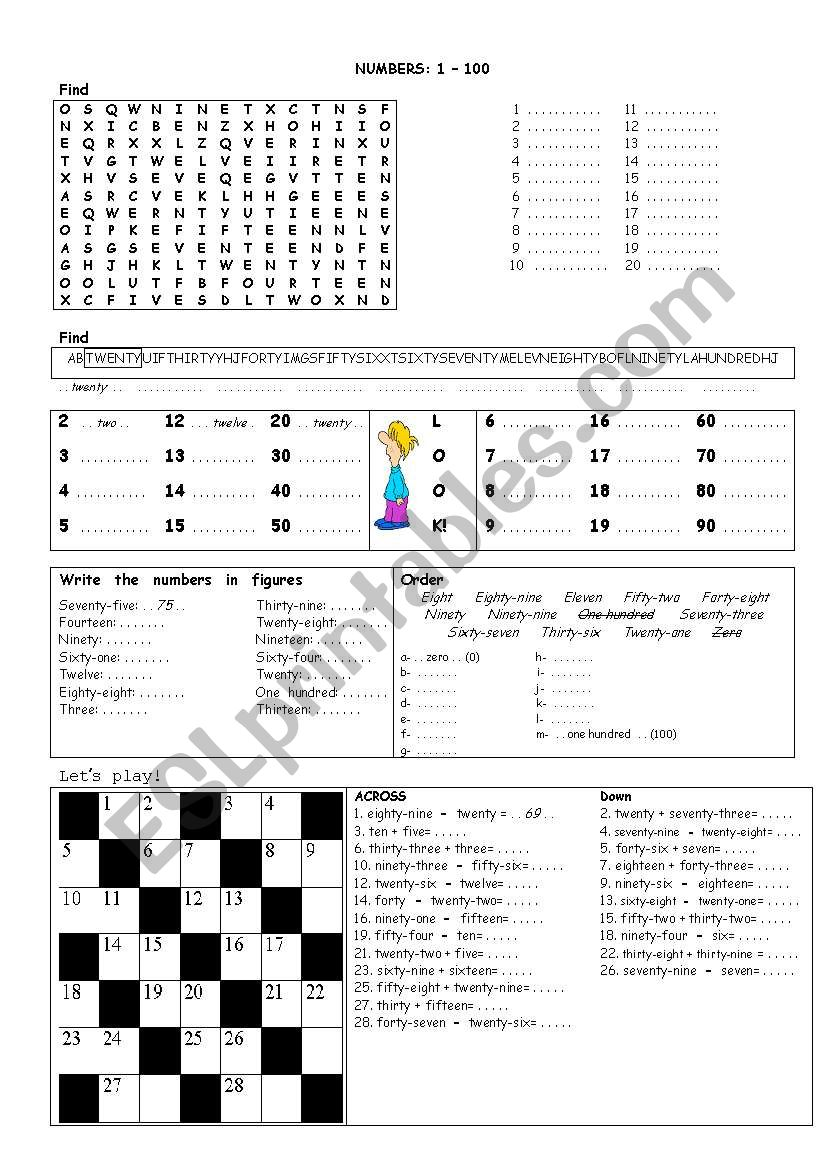 Numbers 1-100 worksheet
