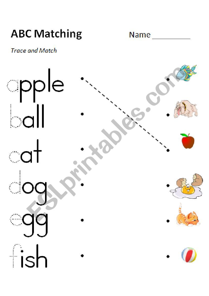 ABC Phonics Matching (e-f) 3 Versions in Color and Grayscale