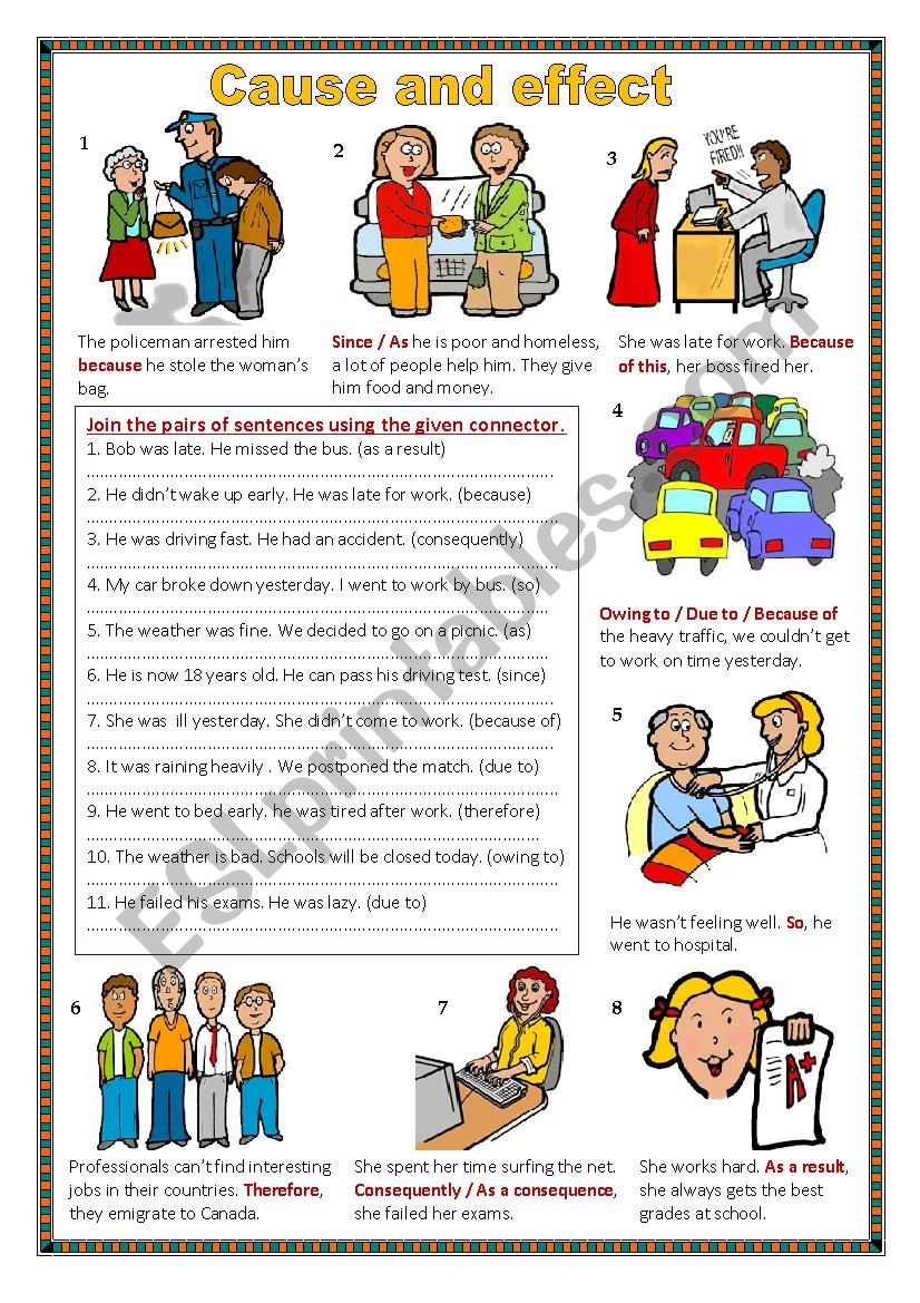 Cause and effect. worksheet