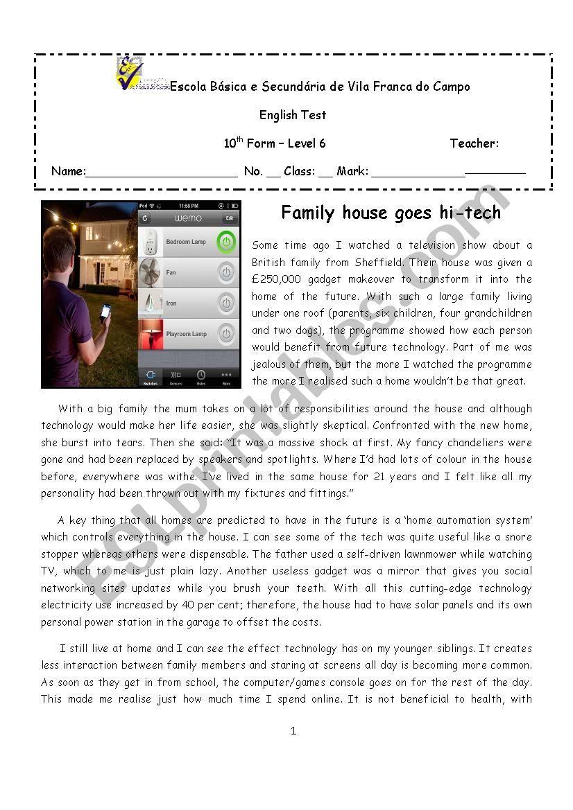 Hi-tech houses - 10th form test