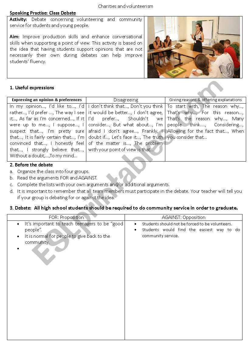 Classroom Debate About Community Service Esl Worksheet