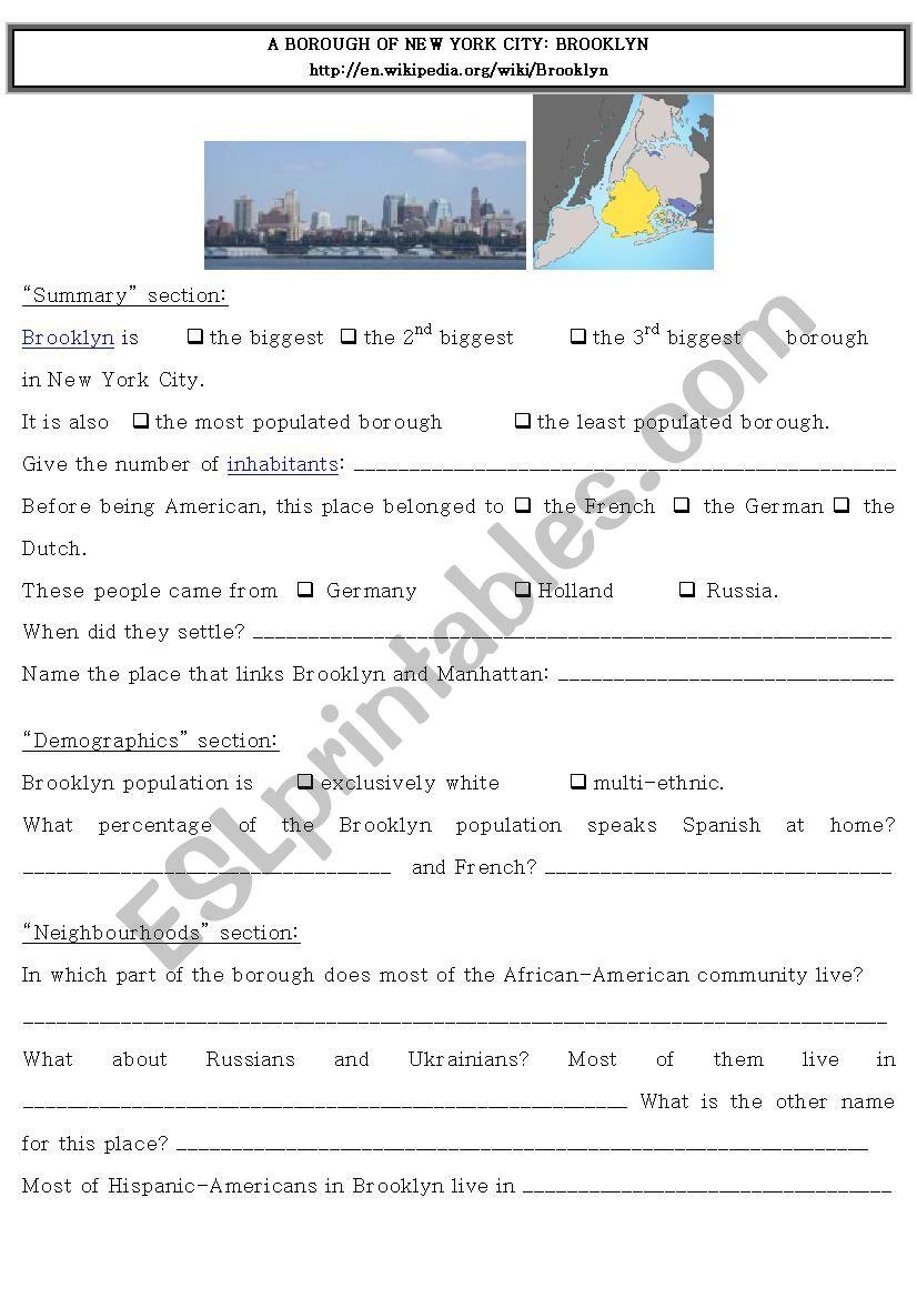 Webquest NYC - Brooklyn worksheet