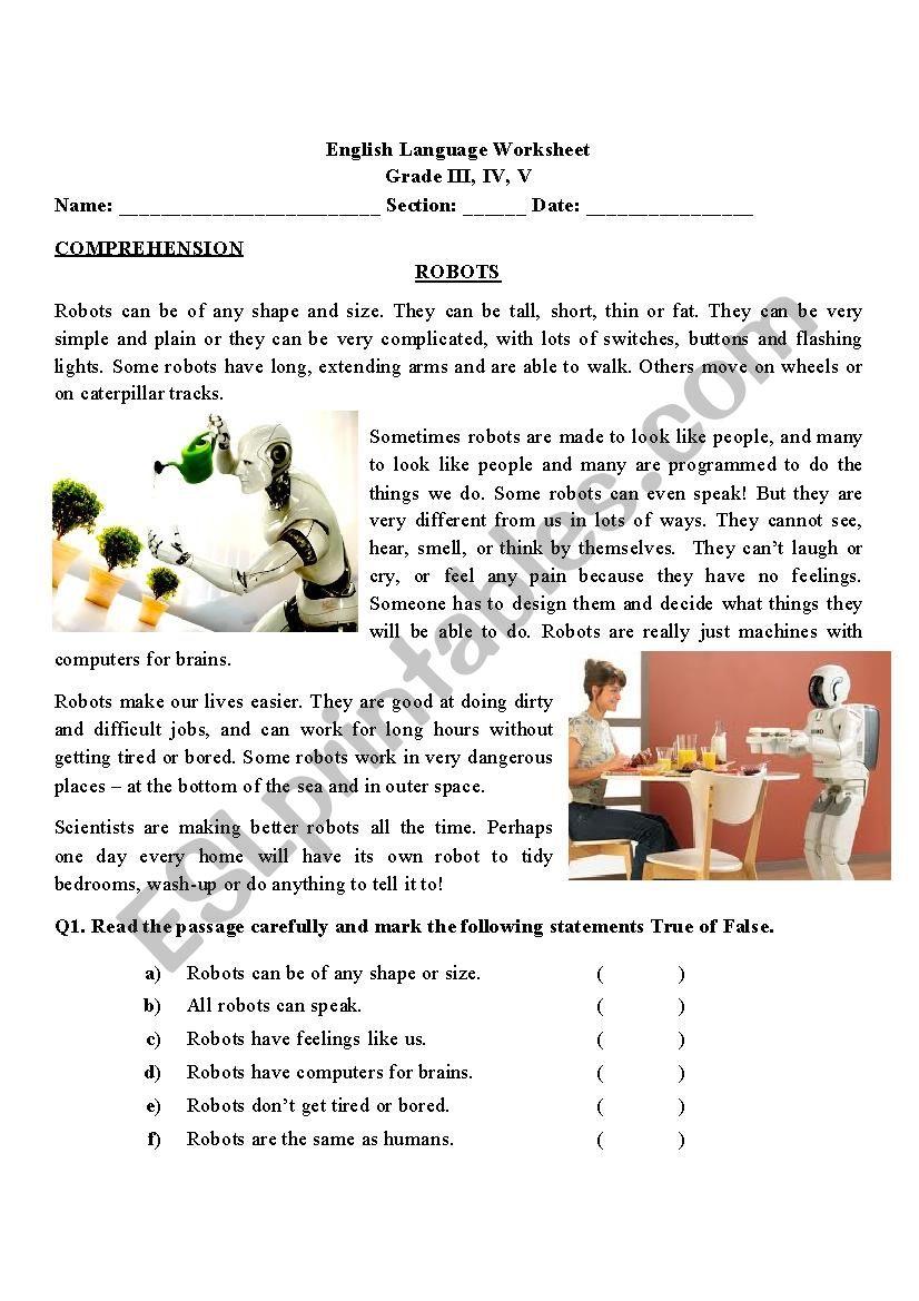 Comprehension about ROBOTS worksheet