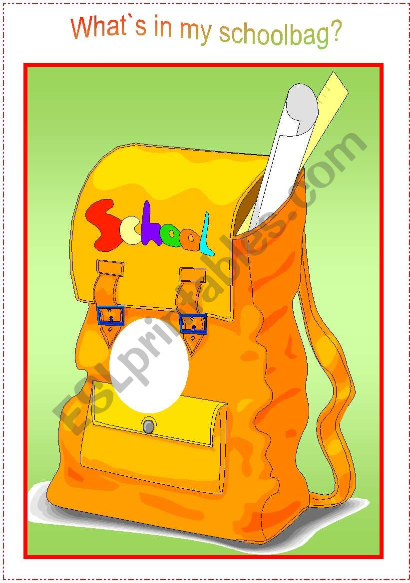 What`s in my schoolbag - practising school objects with kids (schoolbag and cards)