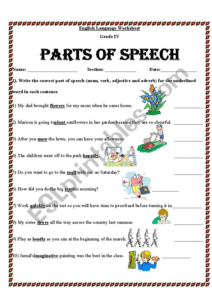 Identify parts of speech   ESL worksheet by mariajane