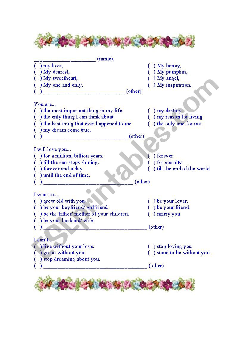 Love letter for dummies worksheet