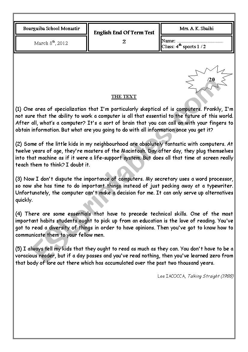 end of term test (4th sports) worksheet