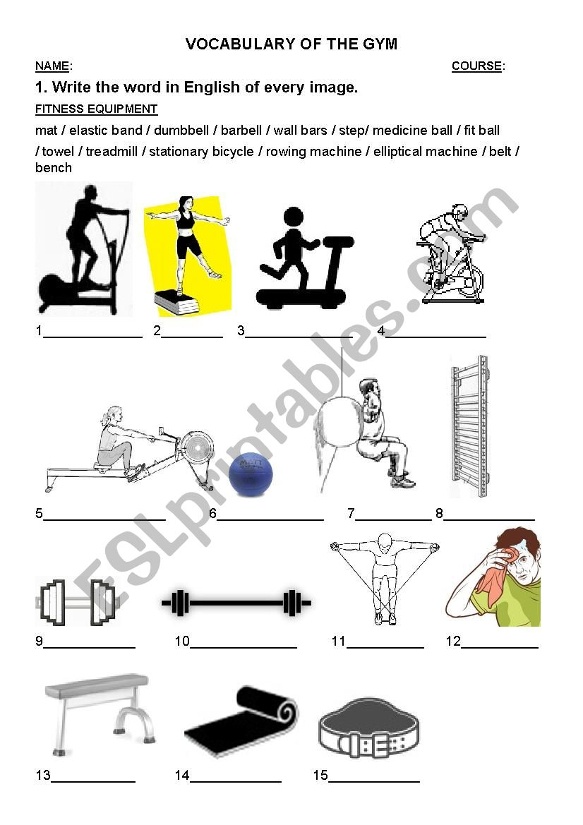 vocabulary of the gym fitness equipment esl worksheet by thisisphysicaleducation. Black Bedroom Furniture Sets. Home Design Ideas