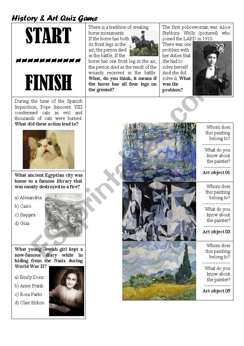 History & Art Quiz Game worksheet