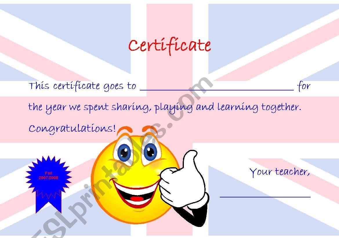certificate worksheet