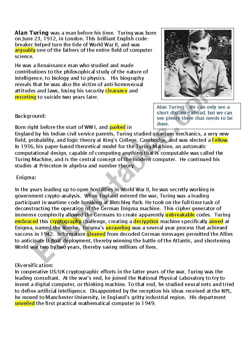 Alan Turing and the Enigma worksheet