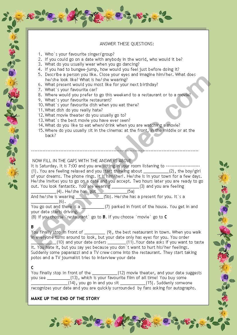 A ROMANTIC STORY worksheet