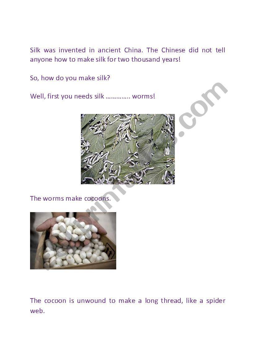 Reading jigsaw - Making silk in Ancient China