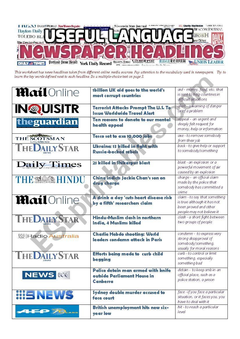 NEWSPAPER HEADLINES - Useful Language