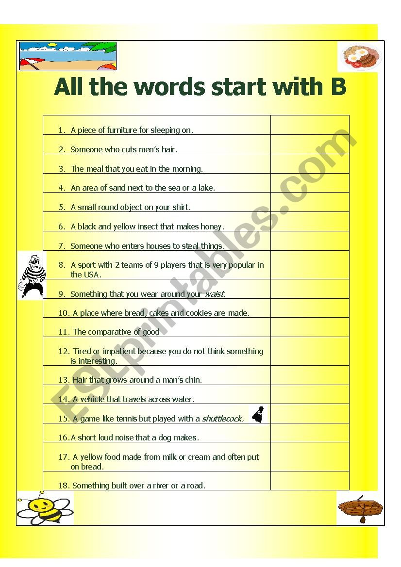 All the Words Start with B worksheet