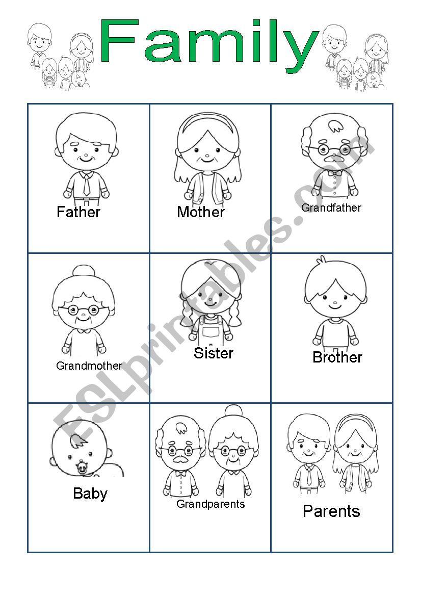 Family for Kindergarten worksheet